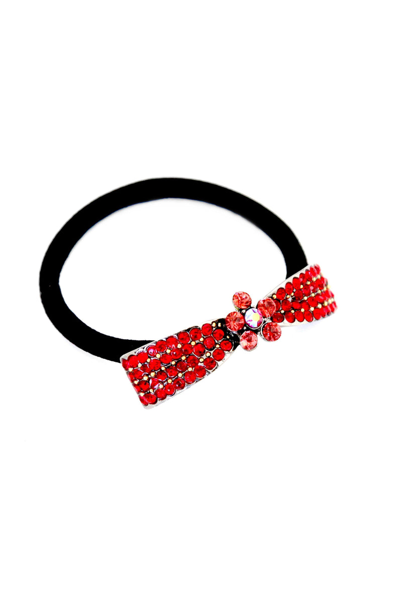 "Soho Style Ponytail Holder Red / 2.1"" x 0.4"" Crystal Bow Ponytail Holder"