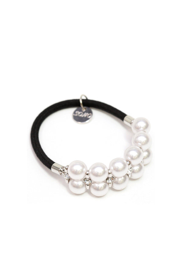Soho Style Ponytail Holder white Double Pearl Ball Ponytail Holder