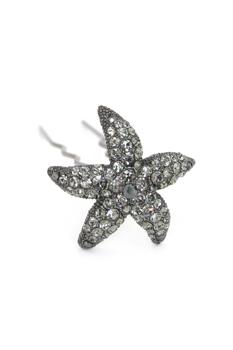 Soho Style Stick Black Crystal Starfish Hair Stick