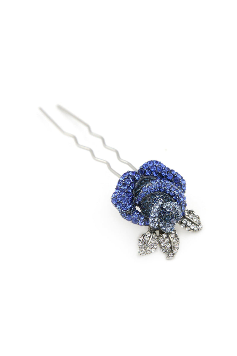Soho Style Stick Blue Rose Hair Stick