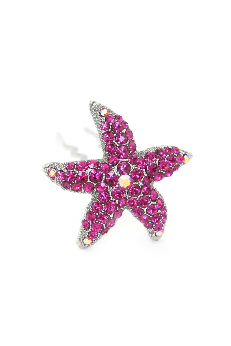 Soho Style Stick Fuchsia Crystal Starfish Hair Stick