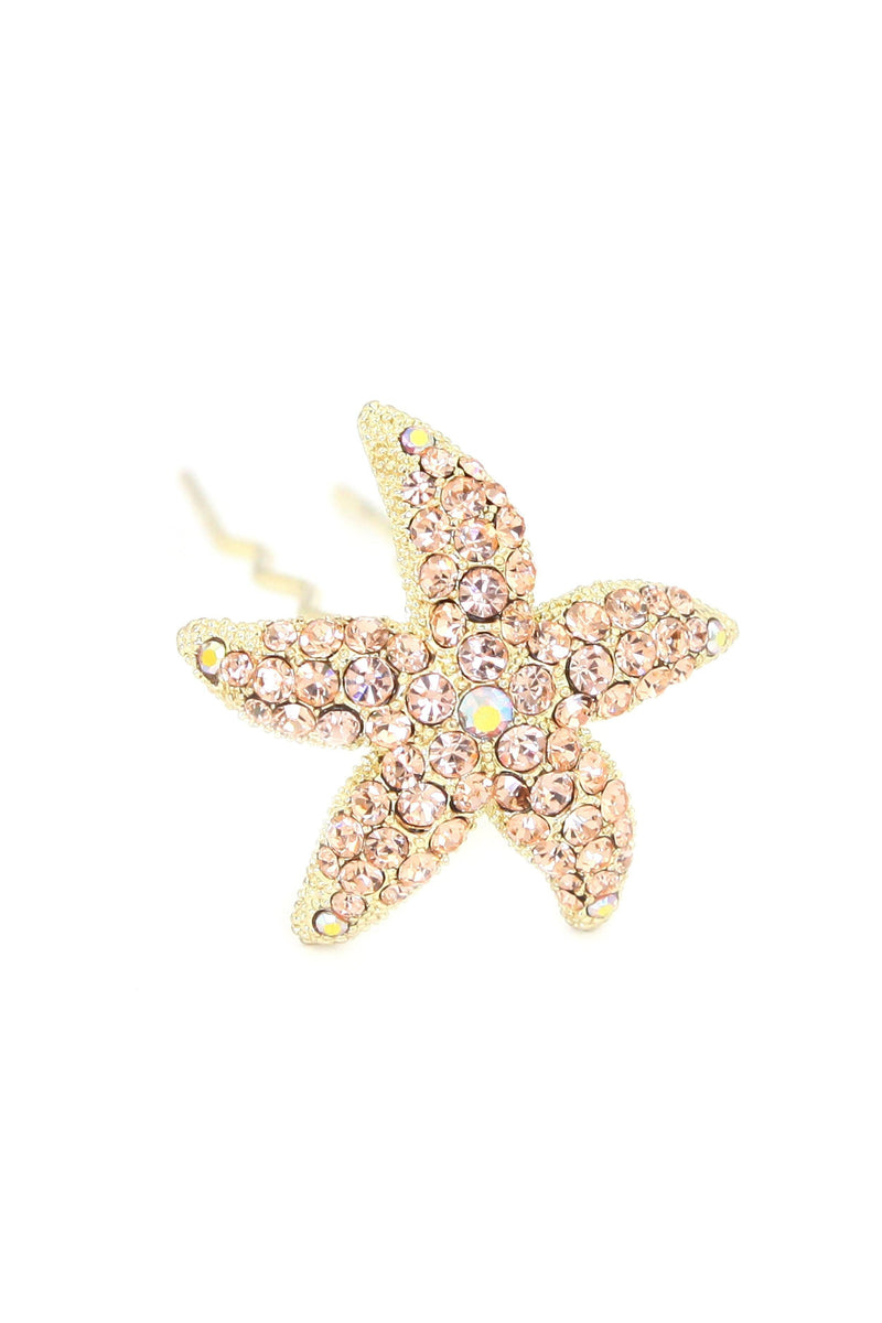 Soho Style Stick Peach Crystal Starfish Hair Stick