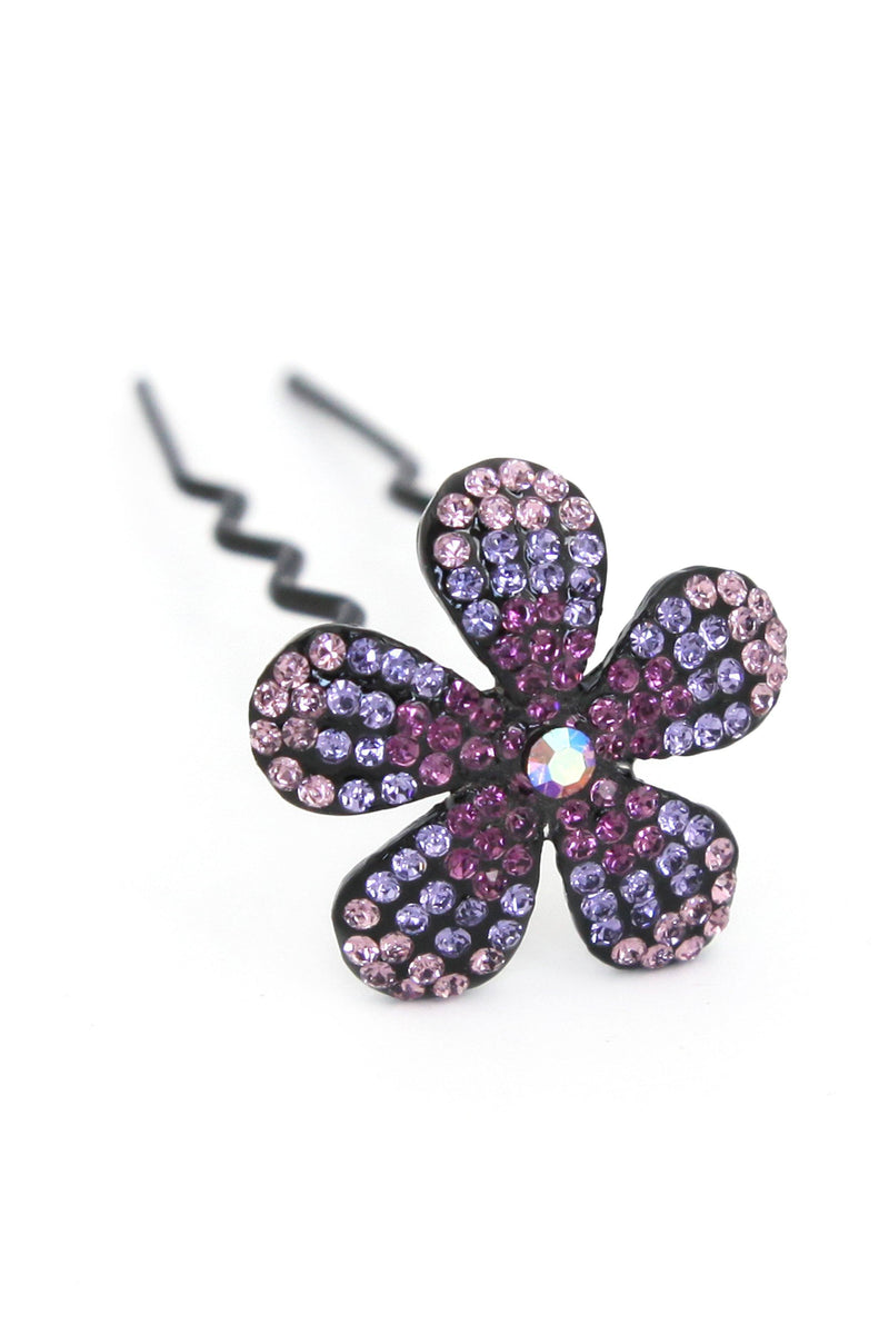Soho Style Stick purple Ombre Crystal Flower Hair Stick