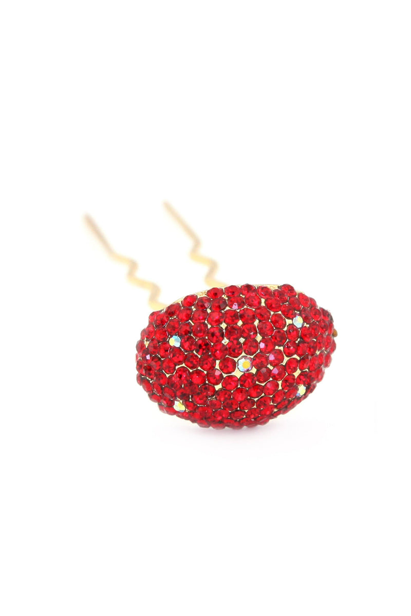 Soho Style Stick Red / Single Crystal Mushroom Hair Stick