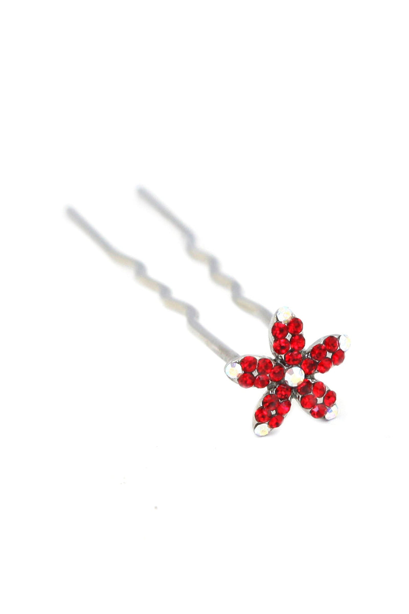 Soho Style Stick Red Small Crystal Daisy Hair Stick