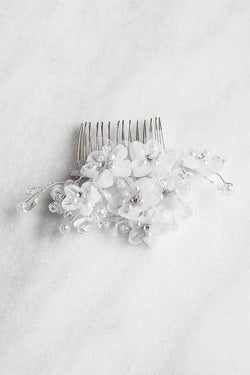 IVORY SOFT FLOWER COMB