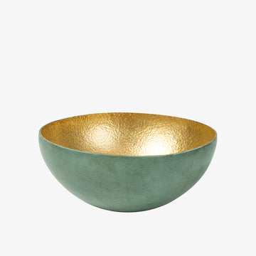 Bowl in Brass & Olive, Crafted by Malian Refugees, Hand-hammered Homewares, Afrika Tiss