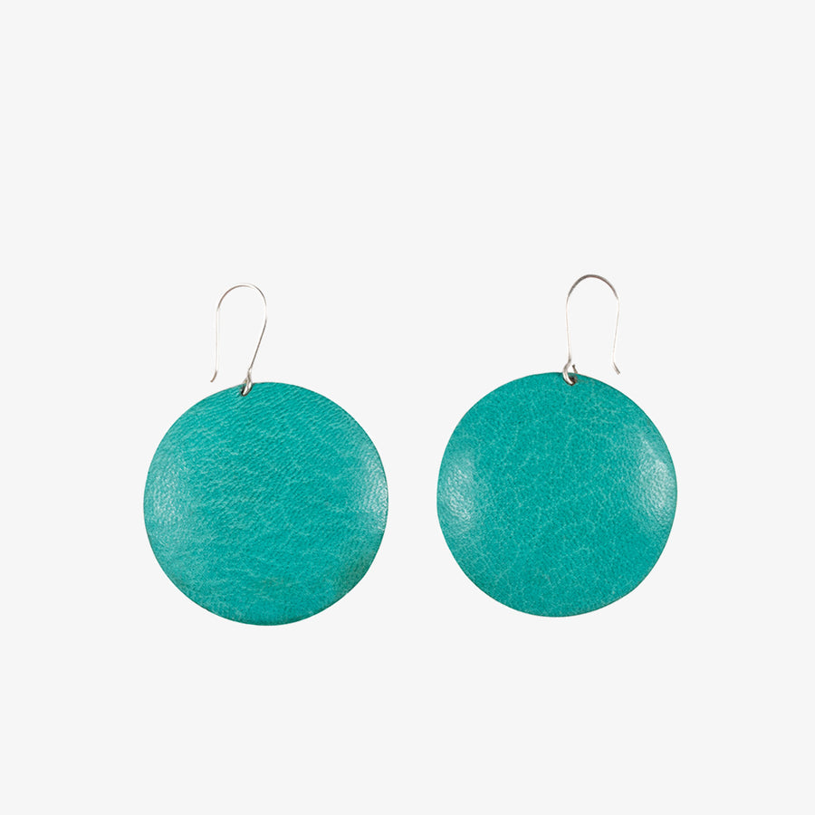 Round Earrings in Turquoise & Grey