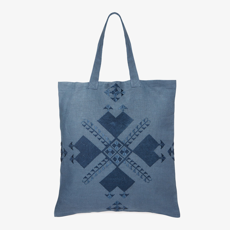 Embroidered Linen Tote in Blue, Crafted by Afghan Refugees, Hand-embroidered Accessory, Artisan Links