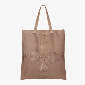 Embroidered Linen Tote in Taupe