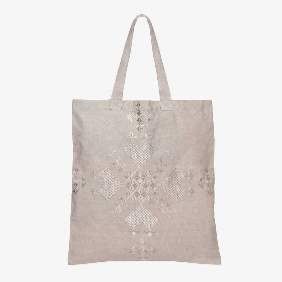 Embroidered Linen Tote in Grey