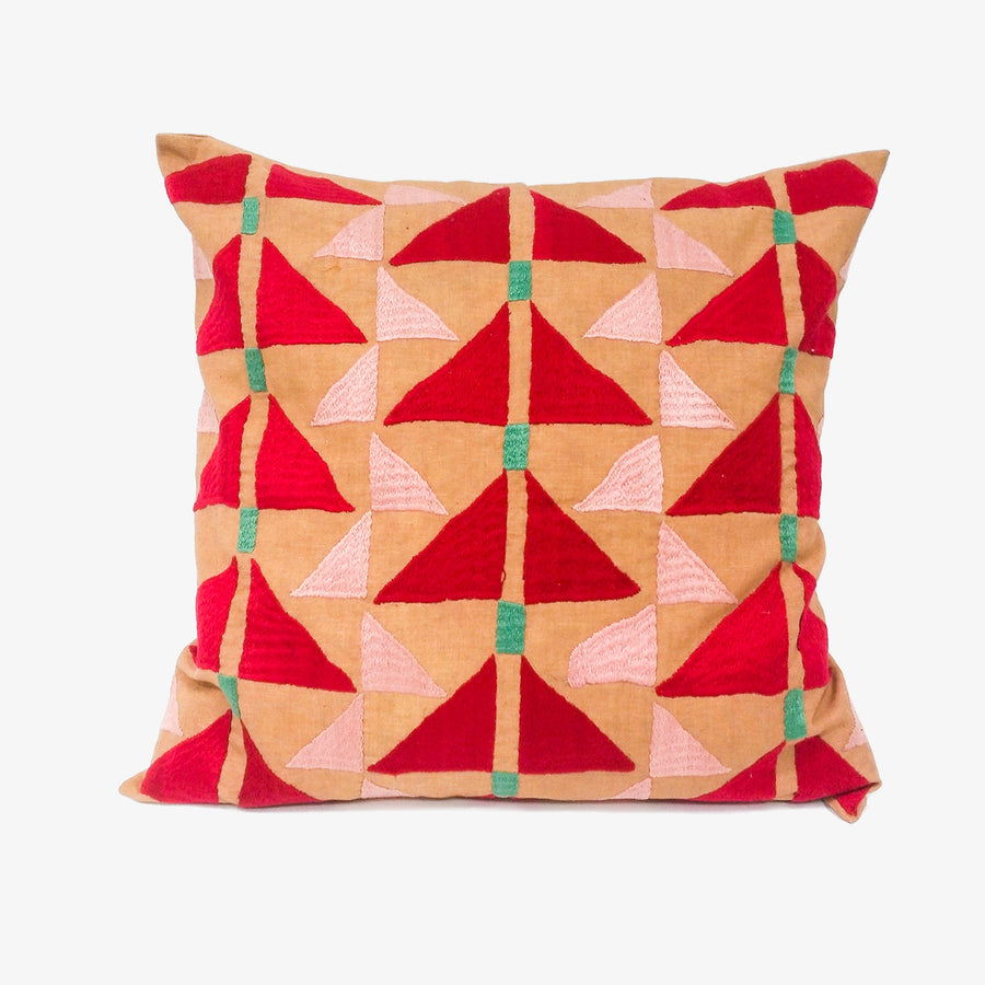 Pukhtadozi Cushion in Red, Crafted by Afghan Refugees, Hand-embroidered Homewares, Artisan Links