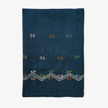 Embroidered Shawl in Navy