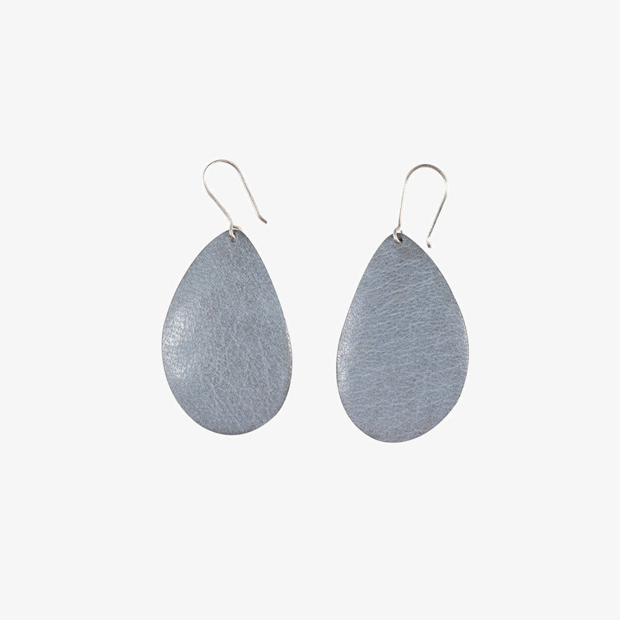 Oval Earrings in Brass & Grey