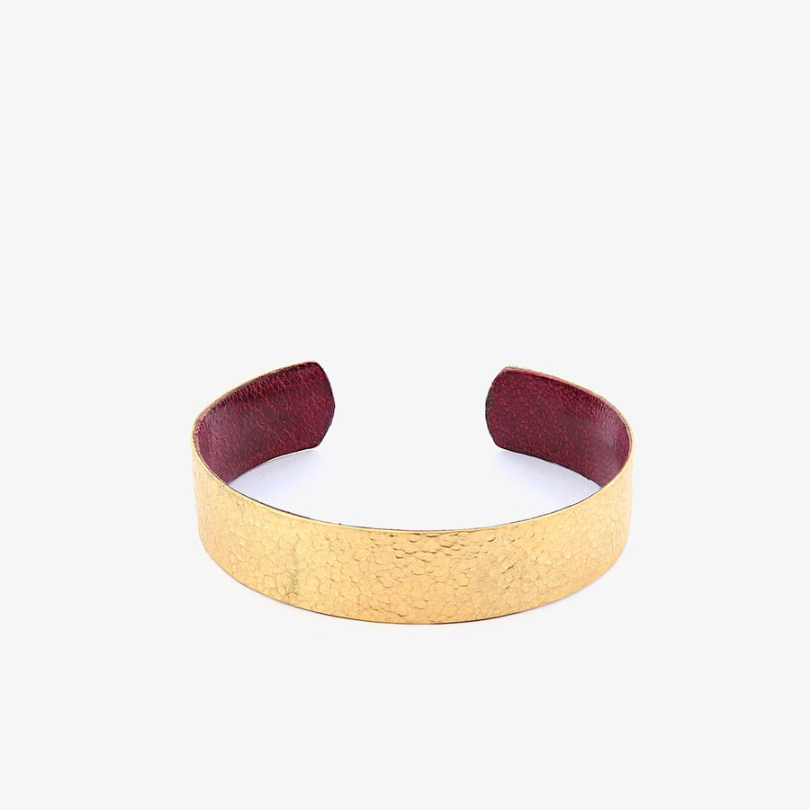 Slim Bracelet in Brass & Raspberry