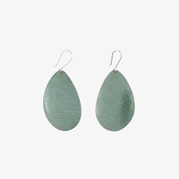 Oval Earrings in Olive & Brass