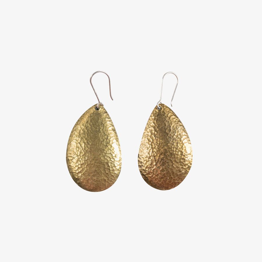 Oval Earrings in Orange & Brass