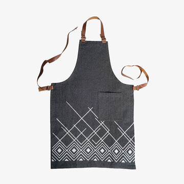 Apron with Leather Straps in Dark Grey