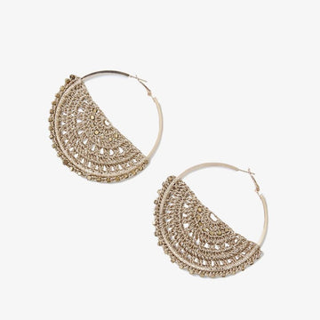 Large Semi Filigree Crochet Earrings in Gold
