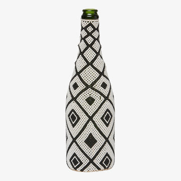 Beaded Bottle in Black Squares, Crafted by South Sudanese Refugees, Handcrafted Homewares, Roots