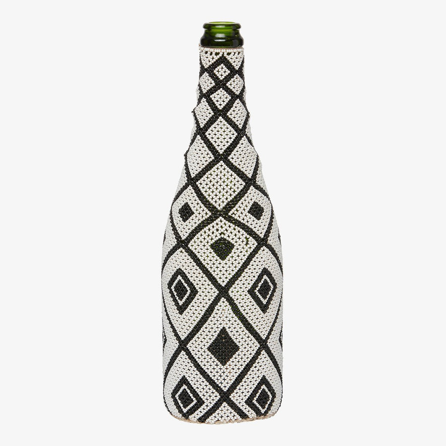 Beaded Bottle in Black Squares