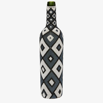 Beaded Bottle in Monochrome Diamonds, Crafted by South Sudanese Refugees, Handcrafted Homewares, Roots