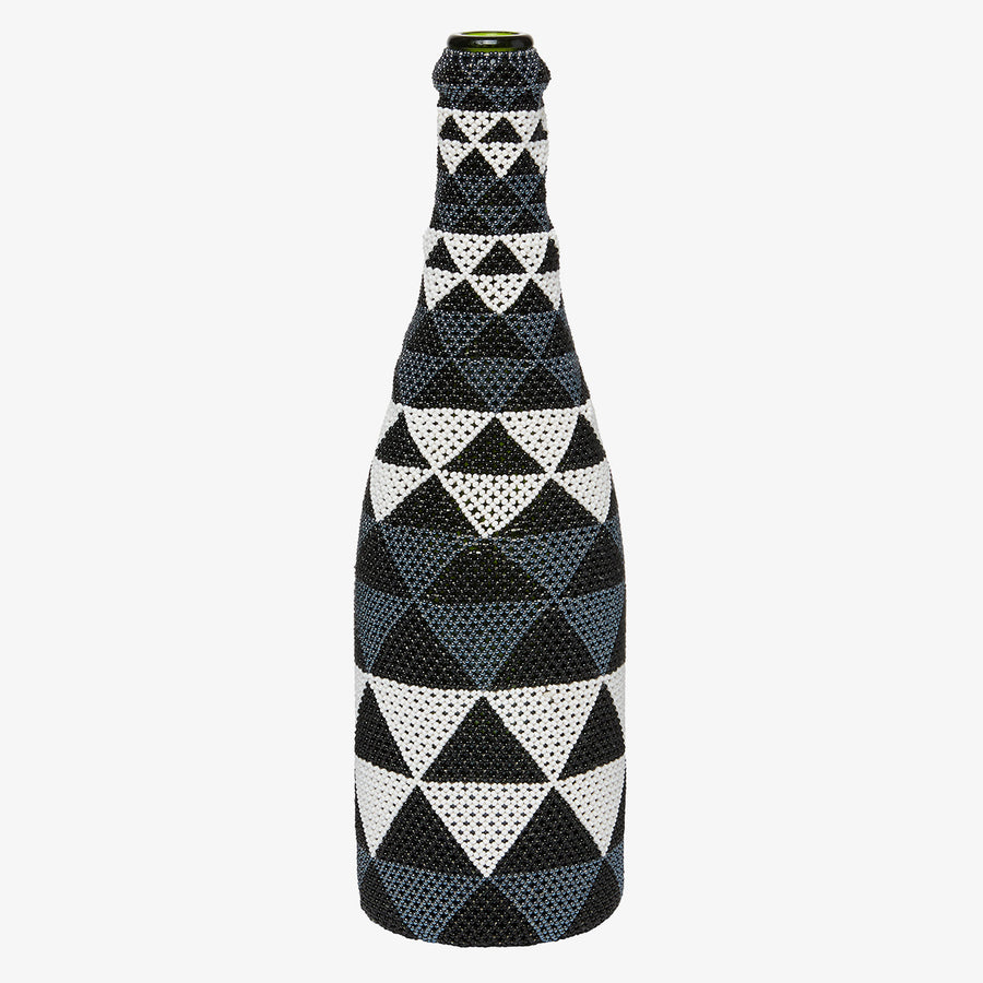 Beaded Bottle in Monochrome Triangles, Crafted by South Sudanese Refugees, Handcrafted Homewares, Roots