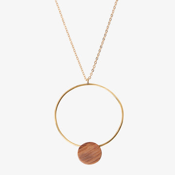 Brass & Wood Circle Necklace