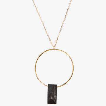 Brass & Horn Rectangle Necklace