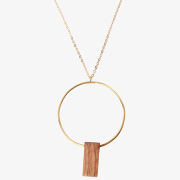 Bawa Rectangle Necklace - Wood