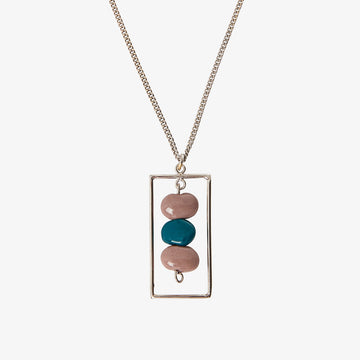 Silver & Ceramic Rectangle Necklace