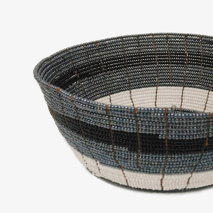 Beaded Bowl in Dark Grey, Crafted by South Sudanese Refugees, Handcrafted Homewares, Roots
