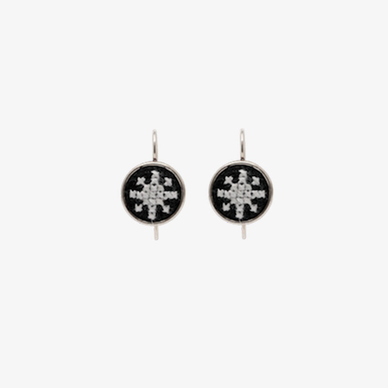 Silver Arabesque Dainty Earrings in Black