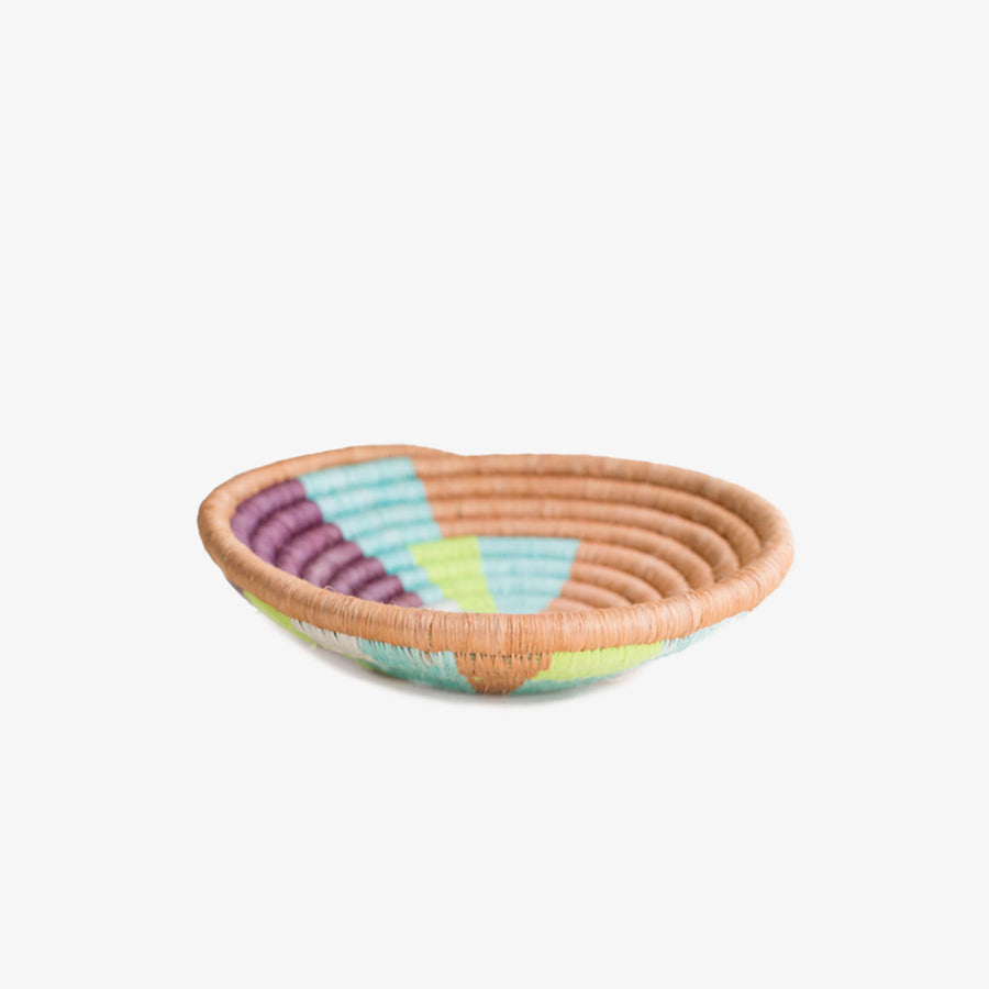 Mini Neon Basket, Crafted by Burundian Refugees, Handcrafted Homewares, Indego Africa