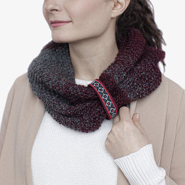 Wool Infinity Scarf in Burgundy