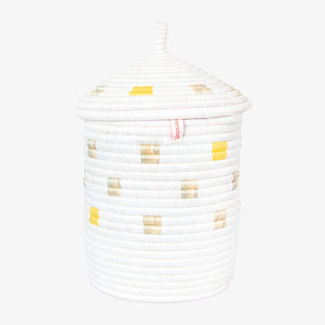 Kitwaro Ikaba Basket in Yellow, Crafted by Syrian Refugees, Handweaved Homewares, Womencraft
