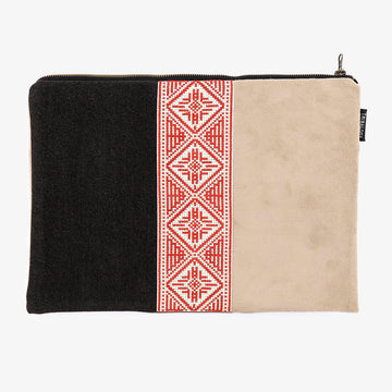 Laptop Sleeve in Taupe & Red