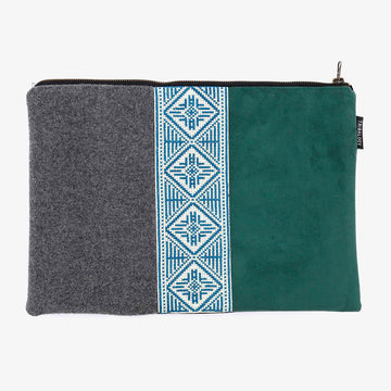 Laptop Sleeve in Grey & Green
