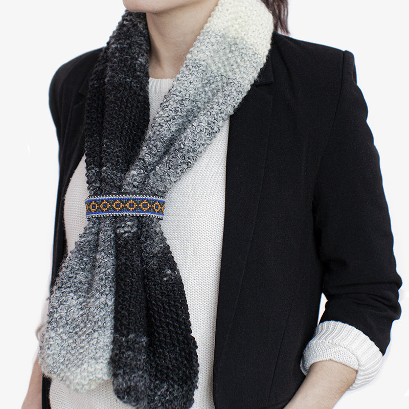 Narrow Shawl in White & Grey