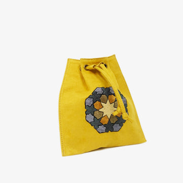 Waist Bag with Hand-Embroidery in Mustard Yellow, Crafted by Syrian Refugees, Handmade Accessory, Rim N Roll