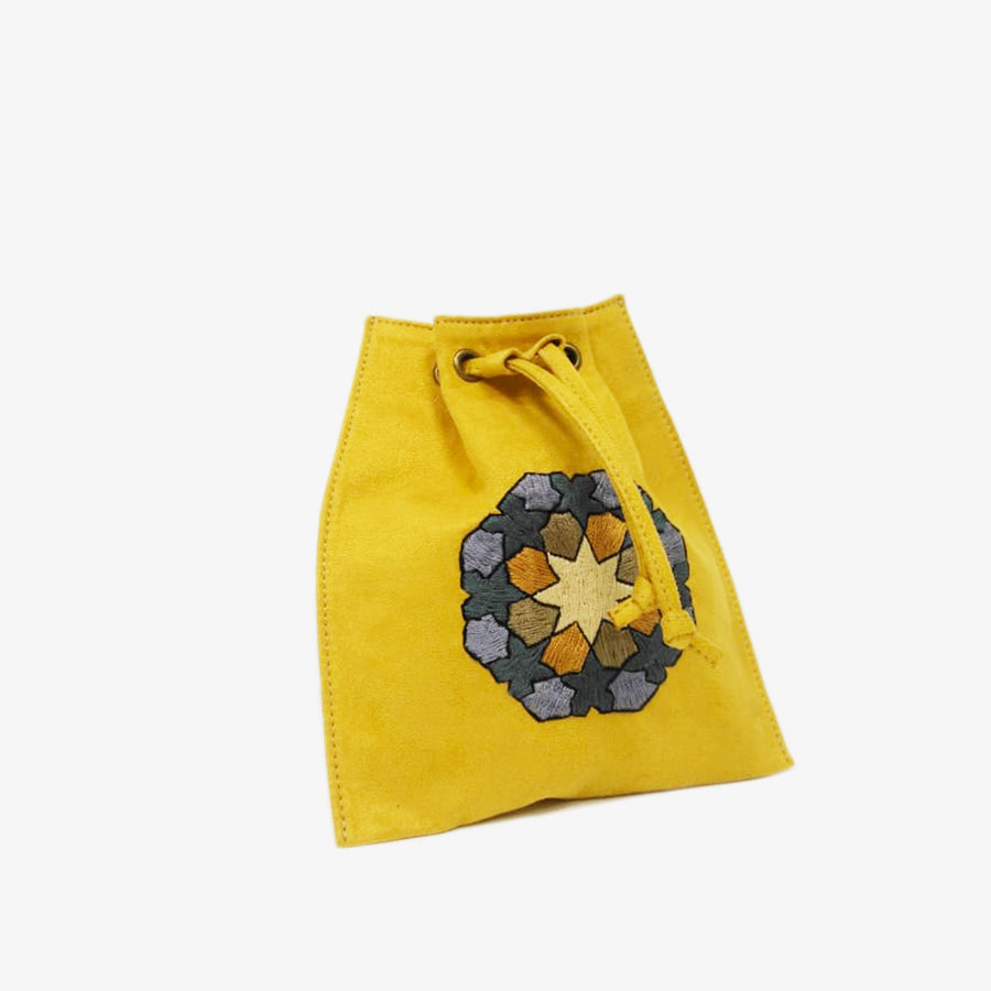 Waist Bag with Hand-Embroidery in Mustard Yellow