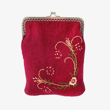 Red Embroidered Pouch