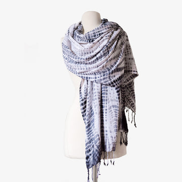 Angie Scarf, Crafted by Congolese, Somali, South Sudanese and Ethiopian Refugees, Hand-dyed Shibori Scarves, RefuSHE