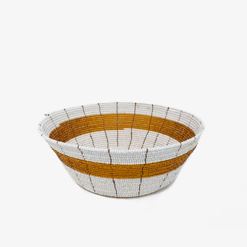 Beaded Bowl in Gold, Crafted by South Sudanese Refugees, Handcrafted Homewares, Roots