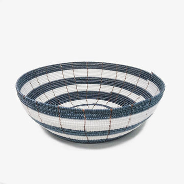 Beaded Bowl in White & Grey, Crafted by South Sudanese Refugees, Handcrafted Homewares, Roots