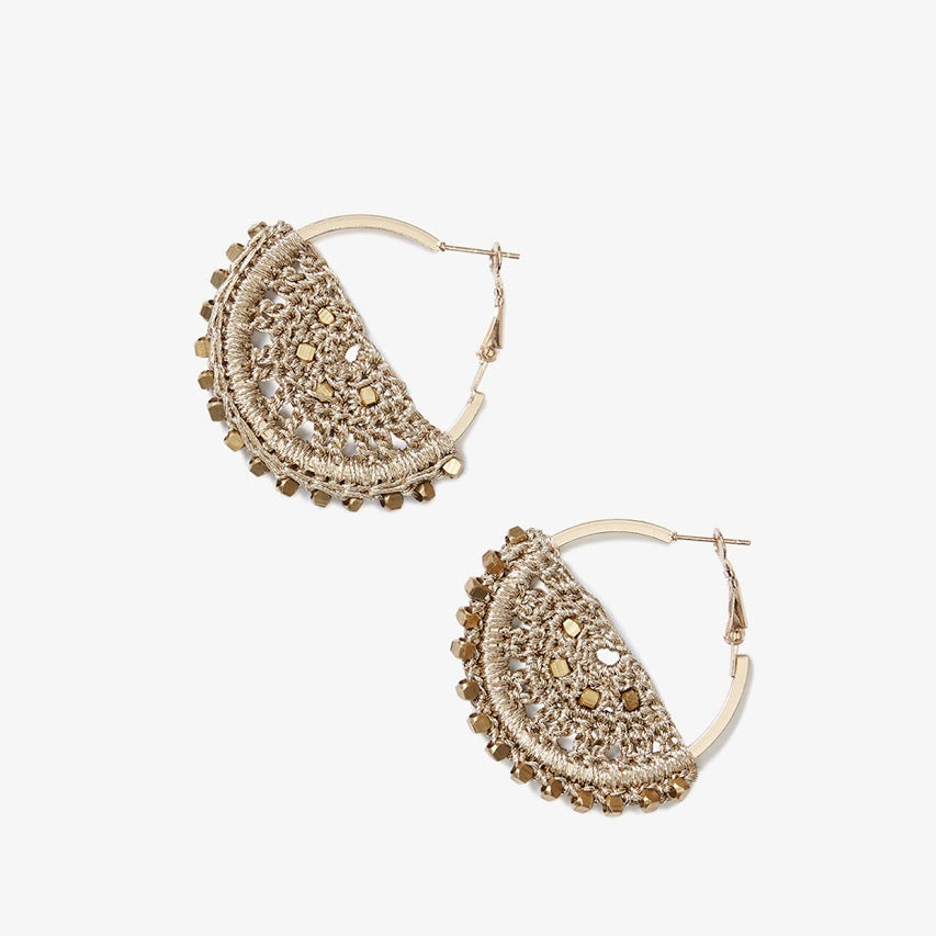 Small Semi Filigree Crochet Earrings in Gold