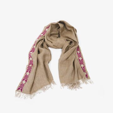Embroidered Scarf in Beige
