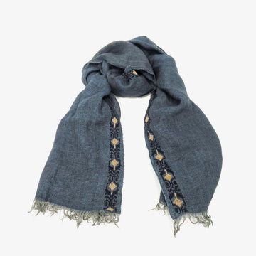 Embroidered Scarf in Blue