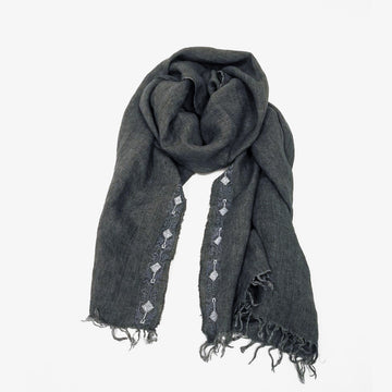 Embroidered Scarf in Grey