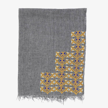 Samira Linen Scarf in Grey